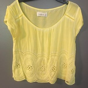 Abercrombie & Fitch Yellow Eyelet Top Medium